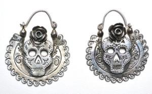 Dia de Los Muertos Silver Arracada Hoop Earrings